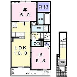 JR小海線 美里駅 徒歩16分の賃貸アパート 2階2LDKの間取り