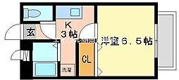 岡山県岡山市中区門田屋敷4丁目の賃貸マンションの間取り