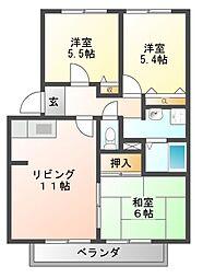 フォレストハイム誉田[1階]の間取り