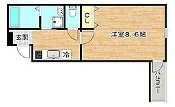 Osaka Metro谷町線 太子橋今市駅 徒歩5分の賃貸マンション 1階1Kの間取り