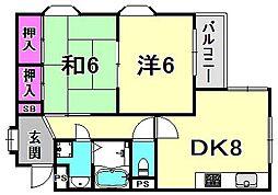 西宮グリーンハイツ5[2階]の間取り