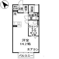 兵庫県姫路市飾磨区中野田4丁目の賃貸アパートの間取り