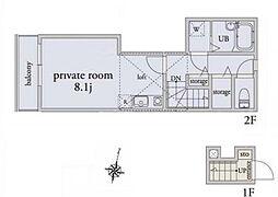 西武池袋線 桜台駅 徒歩9分の賃貸アパート 2階ワンルームの間取り