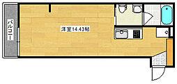 丹那コーポラスI 3階ワンルームの間取り