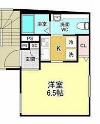 京急本線 梅屋敷駅 徒歩8分の賃貸マンション 地下1階1Kの間取り