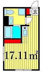 JR山手線 日暮里駅 徒歩12分の賃貸マンション 4階ワンルームの間取り