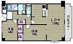 グランドゥール三国ヶ丘[3階]の間取り