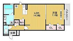 メゾンドアヴニール 2階1LDKの間取り