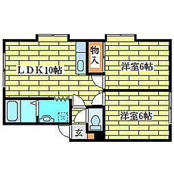 アリコベール平岡[2階]の間取り