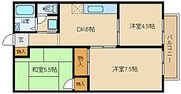 兵庫県姫路市飾磨区英賀春日町2丁目の賃貸アパートの間取り
