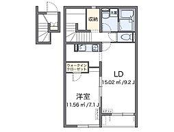 近鉄大阪線 恩智駅 徒歩6分の賃貸アパート 2階1LDKの間取り