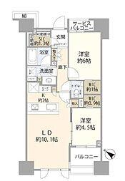 JR山手線 目黒駅 徒歩9分の賃貸マンション 6階2LDKの間取り