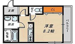 Osaka Metro長堀鶴見緑地線 横堤駅 徒歩4分の賃貸マンション 1階ワンルームの間取り