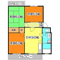 東京都清瀬市中清戸2丁目の賃貸マンションの間取り