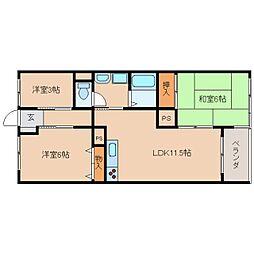 近鉄天理線 天理駅 徒歩10分の賃貸マンション 2階3LDKの間取り