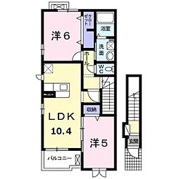 エバーローレル[2階]の間取り