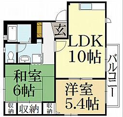 京都府京都市北区大宮玄琢南町の賃貸アパートの間取り
