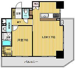 兵庫県神戸市中央区海岸通の賃貸マンションの間取り