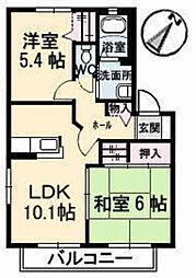 ウェルサイド緑井[1階]の間取り