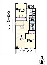 リバーサイドパレス玉ノ井[2階]の間取り