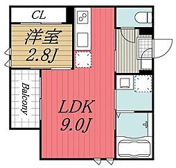 JR総武本線 東千葉駅 徒歩12分の賃貸アパート 2階1LDKの間取り