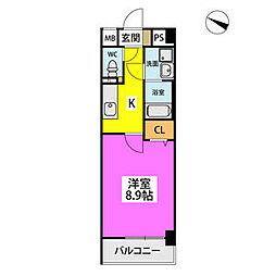 仮)ハイツウェルス4九大マンション 3階1Kの間取り