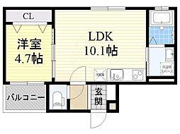 クレシタ茨木 2階1LDKの間取り