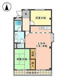 愛知県名古屋市名東区高針台1丁目の賃貸アパートの間取り
