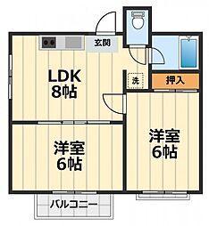 ユニメント飯田[401号室]の間取り