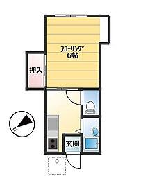 東京都世田谷区鎌田3丁目の賃貸アパートの間取り
