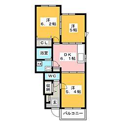 ブリーズメゾン[1階]の間取り