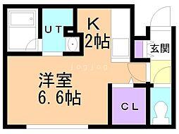 札幌市営南北線 真駒内駅 徒歩14分の賃貸マンション 2階1Kの間取り