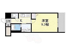 GOパレス桃山台 7階1Kの間取り