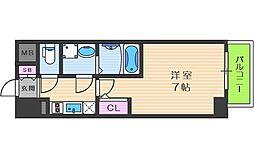 JR東西線 新福島駅 徒歩7分の賃貸マンション 8階1Kの間取り