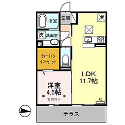 (仮)D-room内ケ島町[106号室]の間取り