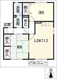 グリーンコート21B[1階]の間取り