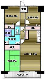 ローレルコート千代田[1階]の間取り