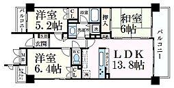 阪急神戸本線 六甲駅 徒歩4分の賃貸マンション 3階3LDKの間取り