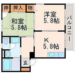 グリーンハイツ甲東園[2階]の間取り