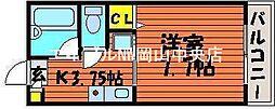 岡山県岡山市中区浜の賃貸マンションの間取り