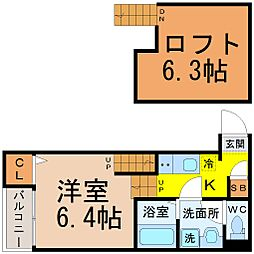 愛知県名古屋市中村区中村中町1の賃貸アパートの間取り