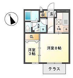 セジュール アン[1階]の間取り