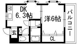 兵庫県宝塚市口谷東2丁目の賃貸マンションの間取り