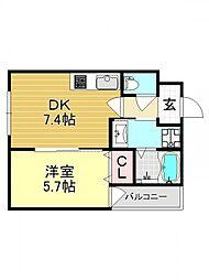 アッシュメゾン加美正覚寺IV[1O2号室号室]の間取り