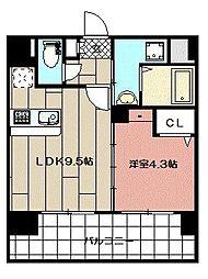 三島マンション博多駅東[609号室]の間取り