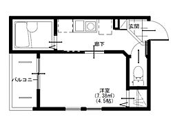 小田急小田原線 生田駅 徒歩9分の賃貸アパート 1階1Kの間取り