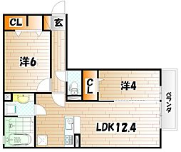 D-room後藤寺A棟[2階]の間取り