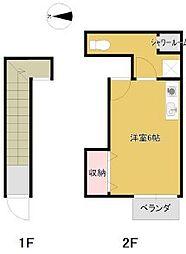バス 遠鉄バス静岡大学下車 徒歩3分の賃貸アパート 2階ワンルームの間取り