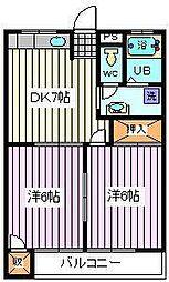 埼玉県さいたま市南区関2丁目の賃貸アパートの間取り