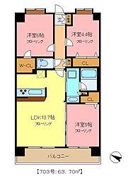 埼玉県さいたま市緑区大字下野田の賃貸マンションの間取り